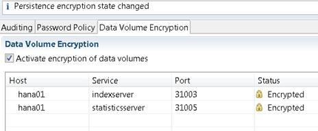 HANA volume encryption encrypted