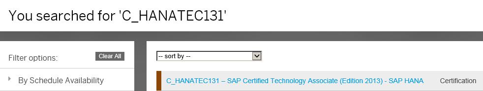 HANA Training - Find the certification exam on training.sap.com