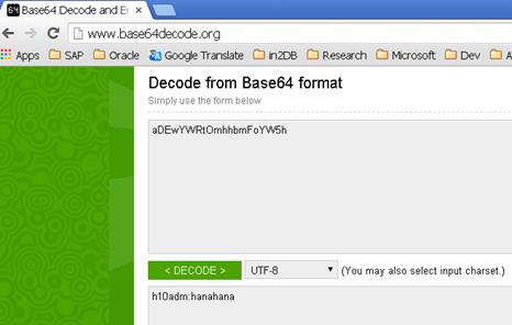 HANA SAPControl HTTP POST BASE64 decoder