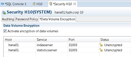 HANA volume encryption activation