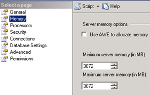 SQL Server Management Studio - Minimum memory