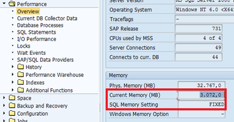 SAP SQL Server memory settings