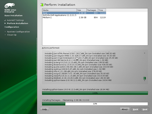SUSE packages installed 12mins remain.